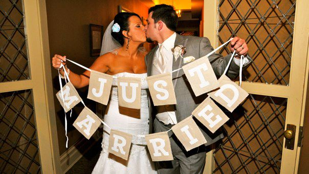 """""""just married"""" burlap banner"""