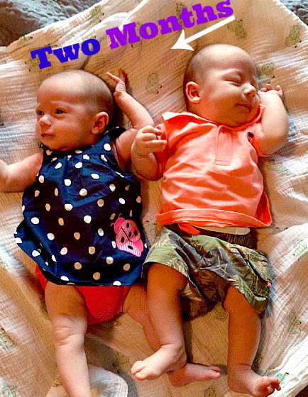 two month old twins