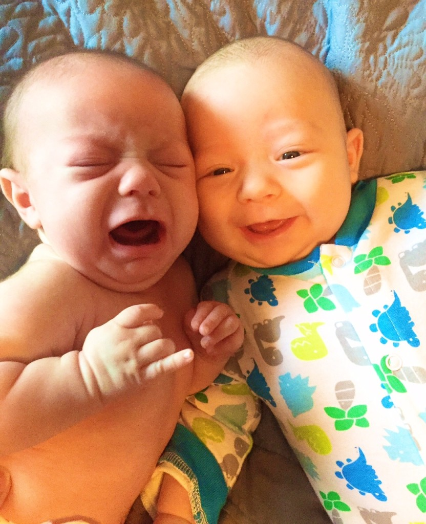 twins ollie smile annie crying