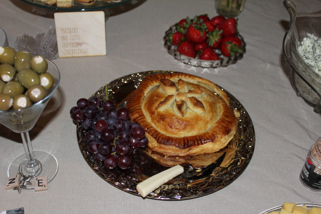 hosting a wine party at home, baked brie